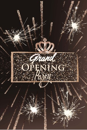 Grand opening party banner with sparkling frame and fireworks. Vector illustration Illustration