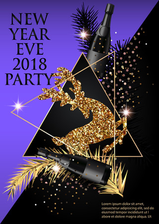New year eve 2018 party invitation card with sparklers and 88554604 new year party invitation card with christmas tree brunches deer bottles of champagne and triangles gold purple and black stopboris Choice Image