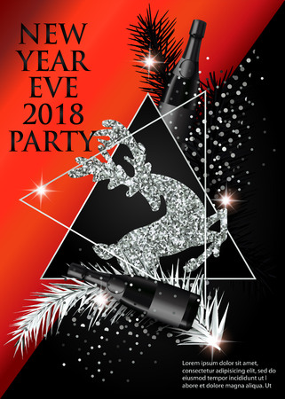 New year party invitation card with christmas tree brunches, deer, bottles of champagne and triangles. Vector illustration