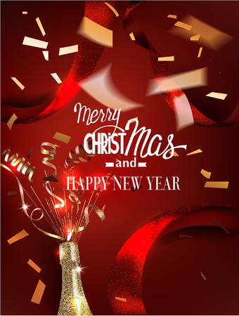 Christmas greeting card with red ribbons, gold confetti and bottle of champagne. Vector illustration Illustration