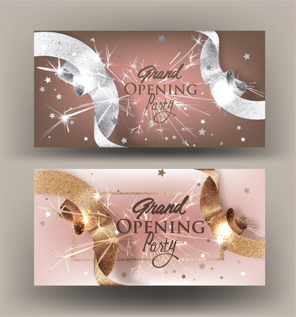Grand opening banners with sparkling beautiful beige ribbons. Vector illustration
