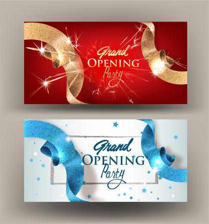 Grand opening banners with sparkling beautiful ribbons. Vector illustration