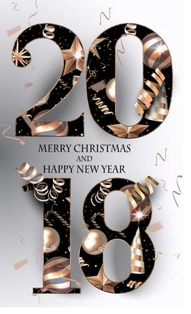 2018 new year greeting card. Vector illustration Illustration