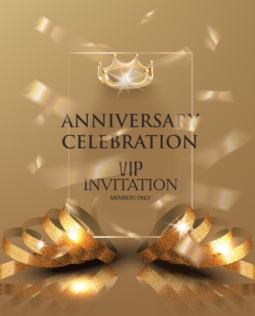 Anniversary celebration invitation card with gold realistic ribbons and confetti. Vector illustration Reklamní fotografie - 88554109