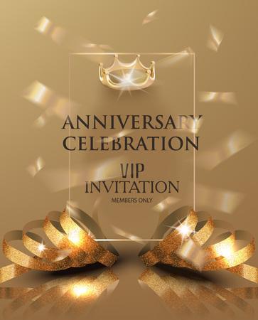 Anniversary celebration invitation card with gold realistic ribbons and confetti. Vector illustration