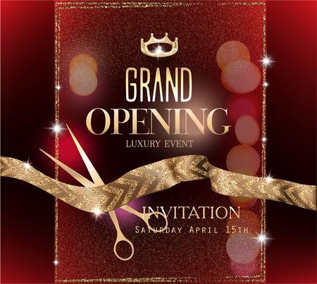 Feierliche Eröffnung einer eleganten Einladungskarte mit Goldband mit Muster . Vektor-Illustration Standard-Bild - 91681820