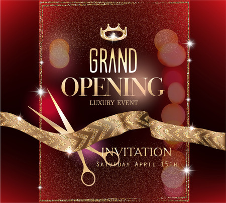 Grand opening of an elegant invitation banner with gold ribbon with pattern. Vector illustration Vettoriali