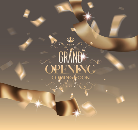Grand opening invitation banner with gold ribbon and flying confetti. Vector illustration