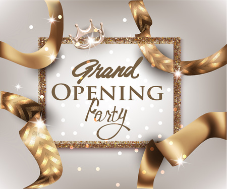 Grand opening invitation banner with gold ribbon with pattern. Vector illustration Vectores