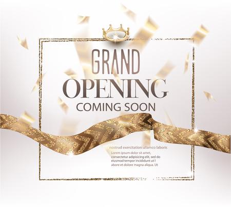 Einladungsfahne der festlichen Eröffnung mit Goldbändern mit Muster und Konfettis. Vektor-illustration