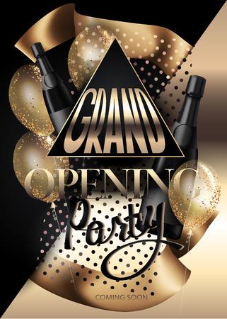 Grote opening uitnodiging kaart met lucht ballonnen, linten, flessen champagne en driehoeken. Goud en zwart. Vector illustratie Stock Illustratie