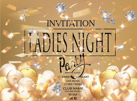 Ladies night gol party invitation card with confetti and diamonds. Vector illustration