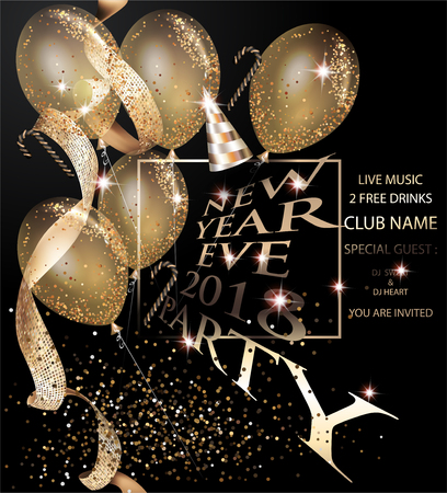 New year eve invitation gold card with air balloons and gold ribbon. Vector illustration