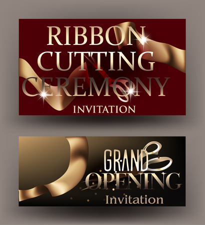 Ribbon cutting ceremony banners with gold curly ribbons. Vector illustration
