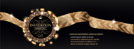 VIP invitation banner with gold ribbons with pattern. Vector illustration Illustration