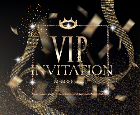 Vip invitation card with abstract ribbon and gold confetti. Vector illustration Illustration