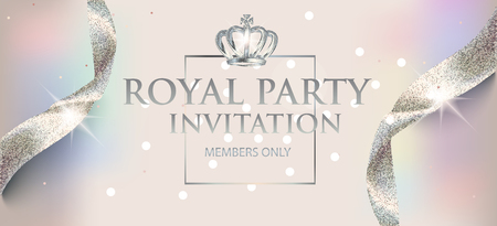 Elegant invitation pearl card with sparkling ribbons and crown. Vector illustration Vettoriali
