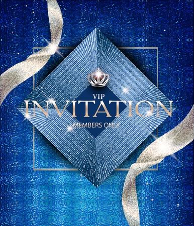Elegant invitation blue card with sparkling ribbons and vintage design elements. Vector illustration