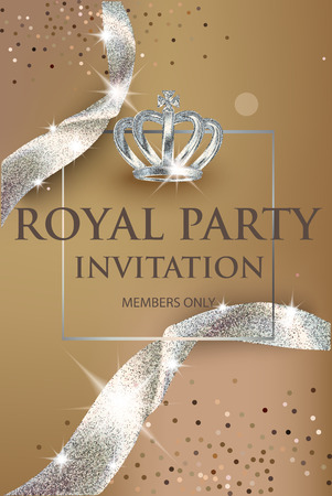 Elegant invitation gold card with sparkling ribbons and crown. Vector illustration