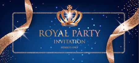 ベージュの輝くリボンと王冠を持つエレガントなロイヤルパーティー招待状。ベクトルイラスト