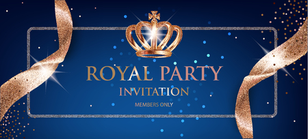 Elegant Royal party invitation card with beige sparkling ribbons and crown. Vector illustration Vectores