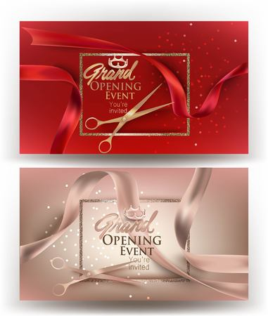 Grand opening banners with curly ribbons, scissors and sparkling frame. Vector illustration