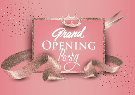 Grand opening banners with curly sparkling ribbons, scissors and sparkling frame. Pastel collors.Vector illustration