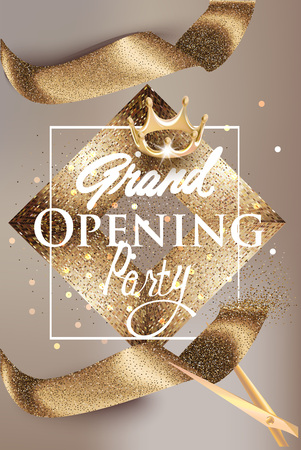 Grand opening of a beige banner with gold sparkling ribbon and vintage frame. Vector illustration.