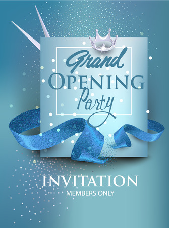 Grand opening blue banner with blue sparkling ribbon, crown and scissors. Vector illustration.