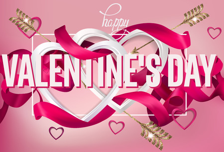 Valentines Day greeting card with curly ribbons, frame and heards. Vector illustration Illustration