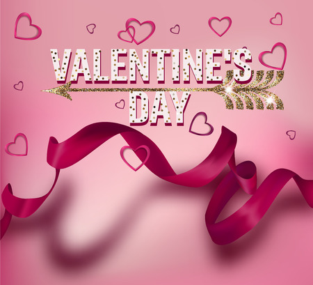 Valentines day greeting card with long pink ribbon with shadow and hearts. Vector illustration Ilustração