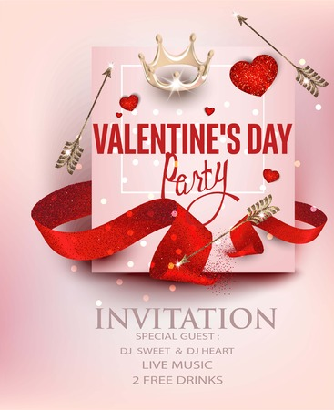 Valentines Day party banner with hearts, ribbons and arrows. Vector illustration