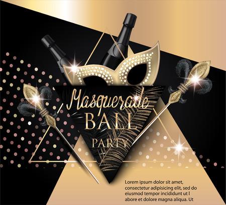 Belo baile de máscaras com máscara, garrafas de champanhe e triângulos. Ouro e preto. Ilustração vetorial