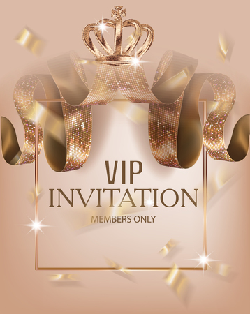 Beautiful VIP invitation banner with silk ribbons with pattern, crown and frames. Vector illustration