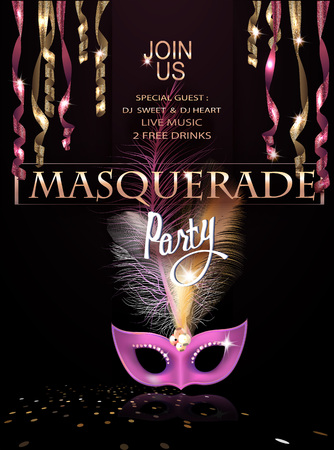 Masquerade party invitation card with hanging serpentine and mask with feathers. Vector illustration
