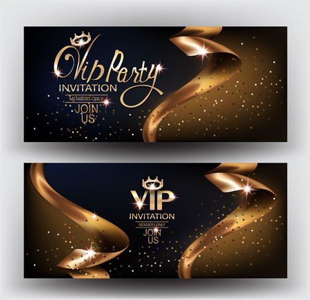 VIP elegant invitation cards with gold ribbons and gold dust. Vector illustration