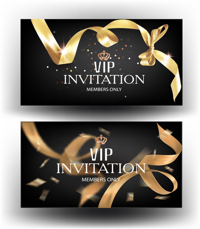 Vip invitation banners with curly gold ribbon. Vector illustration Illustration