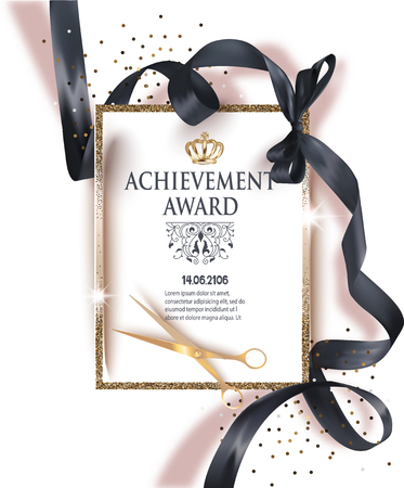 Certificate of achievement sheet with black ribbon and gold vintage frame. Vector illustration
