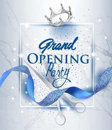 青いテクスチャーのカールリボンと大理石の背景を持つエレガントなグランドオープニング招待カード。ベクトルイラスト