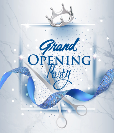 Elegant grand opening invitation card with blue textured curled ribbon and marble background. Vector illustration Vettoriali