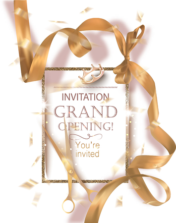 Grand opening banner with curly gold ribbon, scissors and golden frame. Vector illustration Illustration