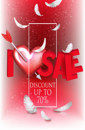 I love sale banner with frame, paper feathers and red hearts. Vector illustration