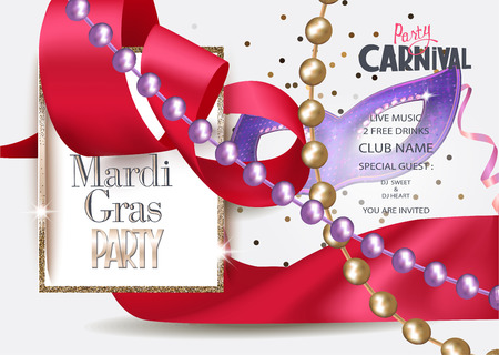 Mardi Gras carnival banner with silk curly red ribbon, golden frame, mask and necklaces with beads. Vector illustration