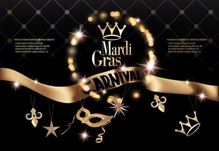 Mardi gras partij uitnodigingskaart met lang gouden lint met deco-objecten. Vector illustratie