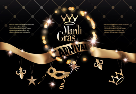 Mardi gras party invitation card with long gold ribbon with deco objects. Vector illustration