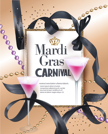 Mardi Gras Party invitation card with necklaces with beads, curly ribbons and golden frame. Vector illustration Illustration