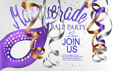 Masquerade ball party invitation with mask and hanging serpentine. Vector illustration Vectores