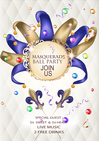 Masquerade ball party invitation banner with masquerade deco object. Vector illustration Illustration