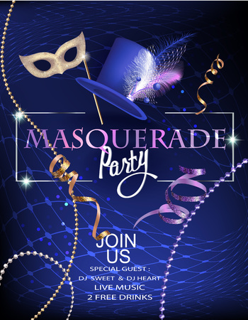 Masquerade party invitation with beads, decorated hat and mask. Vector illustration