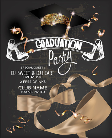 Graduation party 2018 banner with gold curly silk ribbon, serpentine, chalk letterings and graduation cap. Vector illustration
